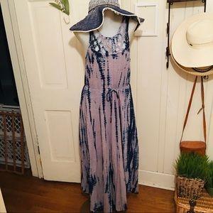 DKNY TieDye Dress - L tan /blue ,drawstring waist